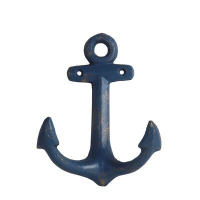 Decorative Cast Iron Vertical Vertical Anchor Sculpture Color: Blue