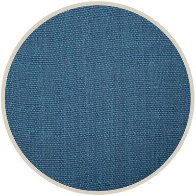 Emery Hand-Woven Blue Area Rug Rug Size: Round 6