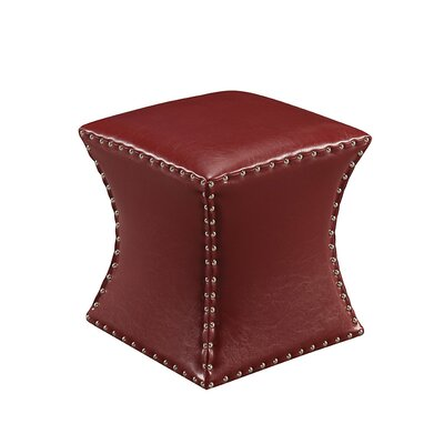Forestdale Square Ottoman Upholstery: Red