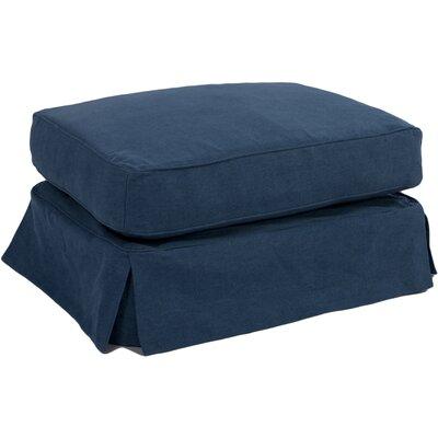 Oxalis Slipcovered Ottoman Upholstery: Indigo Blue