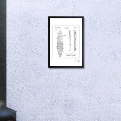 'Surfboard 1948' Framed Drawing Print in Silver Frame Color: Black