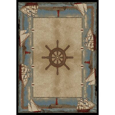 Warner Key West Beige/Blue Area Rug Rug Size: 5 x 8