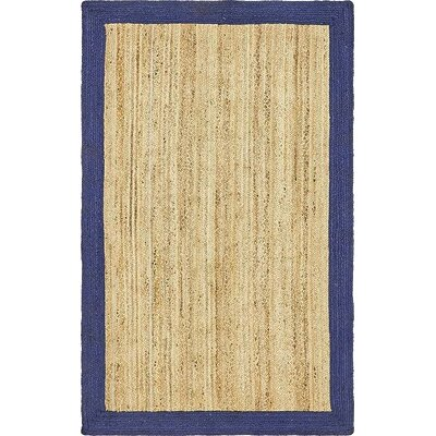 Elsmere Hand-Braided Natural Area Rug Rug Size: 5 x 8