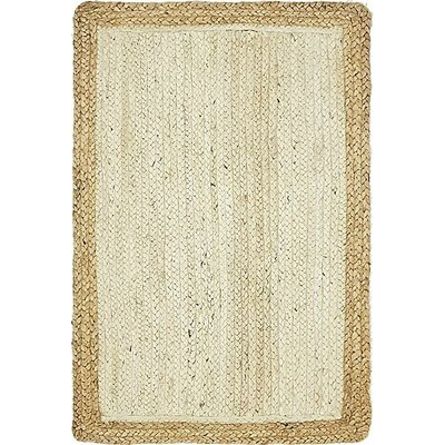 Antiqua Hand-Braided White Area Rug Rug Size: 2 x 3