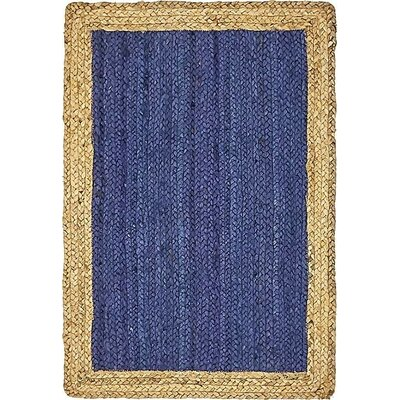Calathea Hand-Braided Navy Blue Area Rug Rug Size: 2 x 3