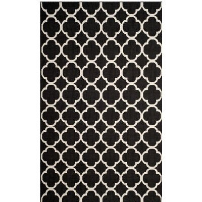 Desota Hand-Woven Black/Ivory Area Rug Rug Size: Medium Rectangle 4 x 6