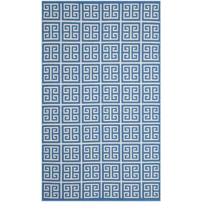 Walton Hand-Woven Blue/Ivory Area Rug Rug Size: Round 6