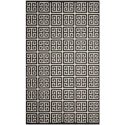 Walton Hand-Woven Black/Ivory Area Rug Rug Size: 5 x 8
