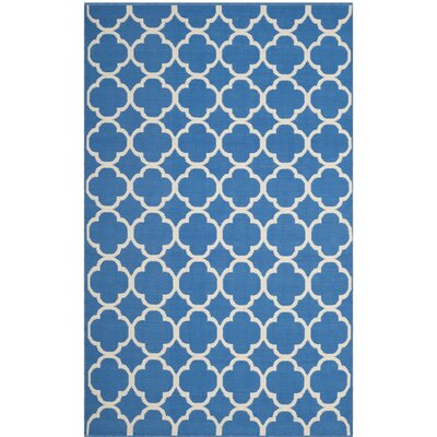 Desota Hand-Woven Blue/Ivory Area Rug Rug Size: Rectangle 3 x 5