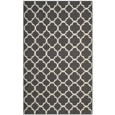 Desota Hand-Woven Dark Gray/Ivory Area Rug Rug Size: Rectangle 8' x 10'