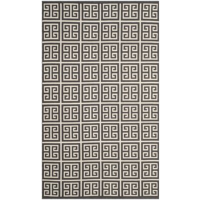 Royalton Hand-Woven Dark Gray/Ivory Area Rug Rug Size: Rectangle 4 x 6
