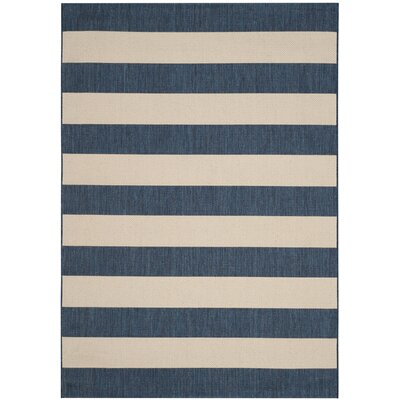 Rudolph Navy/Beige Indoor/Outdoor Area Rug Rug Size: Rectangle 8 x 10