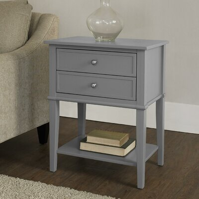 Winfield End Table With Storage Color: Gray