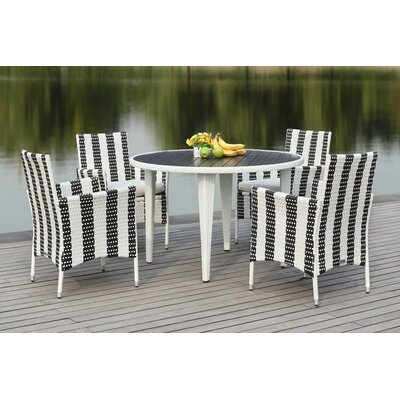 Rodric 5 Piece Dining Set Finish: Black/White
