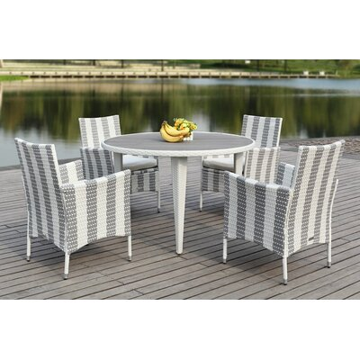 Rodric 5 Piece Dining Set Finish: Navy/White