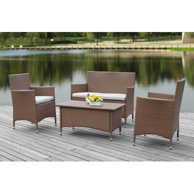 Taylortown Outdoor 4 Piece Deep Seating Group with Cushions Finish: Black / White