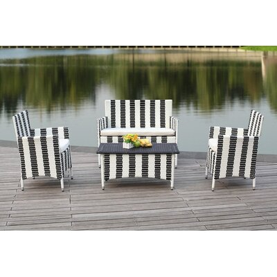 Taylortown 4 Piece Sofa Set with Cushions Color: Black / White