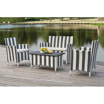 Taylortown Outdoor 4 Piece Deep Seating Group with Cushions Finish: Grey / White