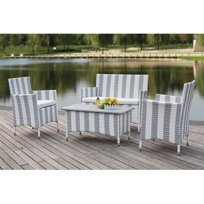 Taylortown Outdoor 4 Piece Deep Seating Group with Cushions Finish: Navy / White