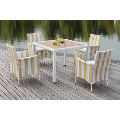 Thorntown 5 Piece Dining Set Finish: Gold/White
