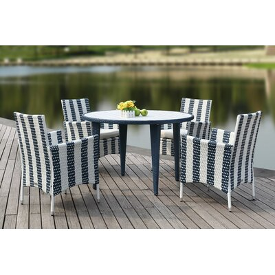 Rodric 5 Piece Dining Set Finish: Gold/White