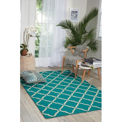 Merganser Hand-Tufted Aqua/Beige Indoor/Outdoor Area Rug Rug Size: Rectangle 23 x 39