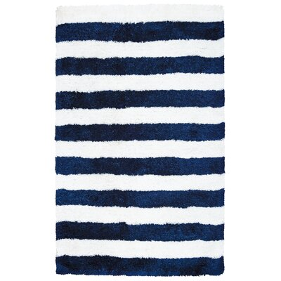 Dublin Hand-Tufted Navy/Ivory Indoor/Outdoor Area Rug Size: 5 x 8
