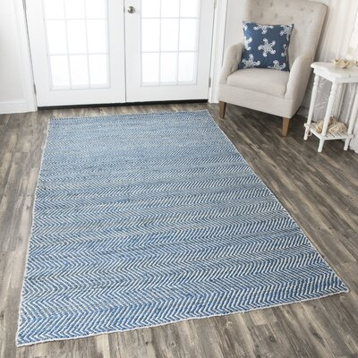 Jammie Hand-Loomed Blue Area Rug Rug Size: Rectangle 5 x 8