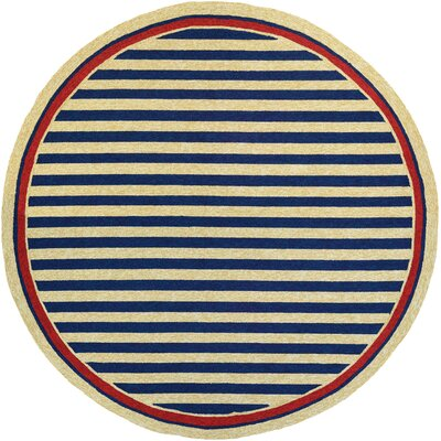 Montery Hand-Woven Navy/Yellow Indoor/Outdoor Area Rug Rug Size: Round 710