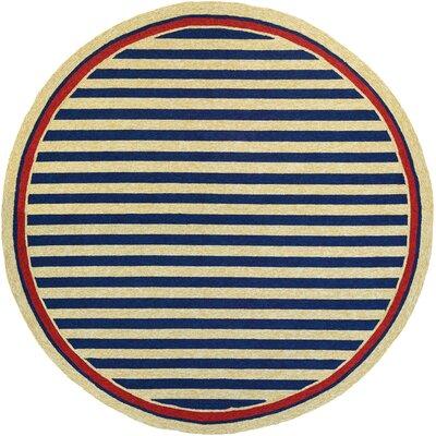 Montery Hand-Woven Navy/Yellow Indoor/Outdoor Area Rug Rug Size: Round 710