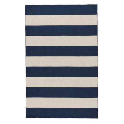 Sandcliff Wool Blue/White Area Rug Rug Size: Rectangle 4 x 6