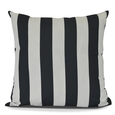 Inwood Rugby Stripe Outdoor Throw Pillow Size: 16 H x 16 W, Color: Black