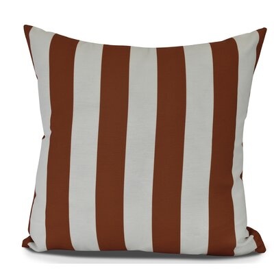 Inwood Rugby Stripe Outdoor Throw Pillow Size: 18 H x 18 W, Color: Orange