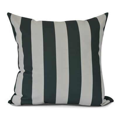 Inwood Rugby Stripe Outdoor Throw Pillow Size: 16 H x 16 W, Color: Green
