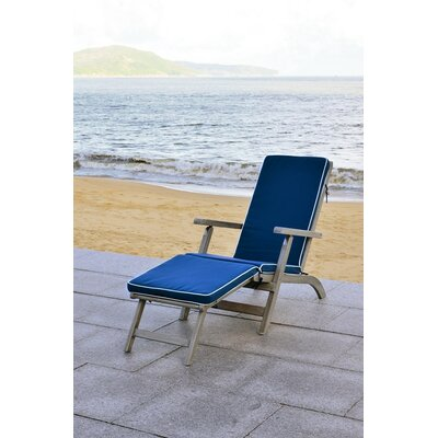 Shearwater Chaise Lounge with Cushion Finish: Grey / Navy