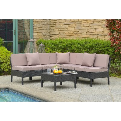 Monticello 6 Piece Sectional Seating Group with Cushion in Black and Sand