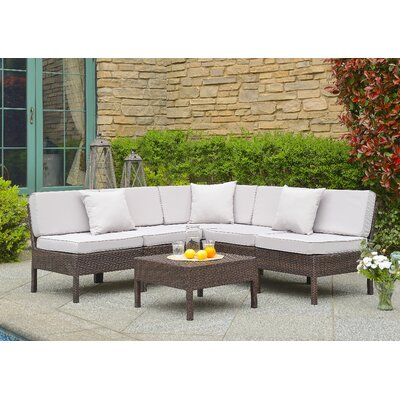 Monticello 6 Piece Sectional Seating Group with Cushion Finish: Brown, Fabric: Tan