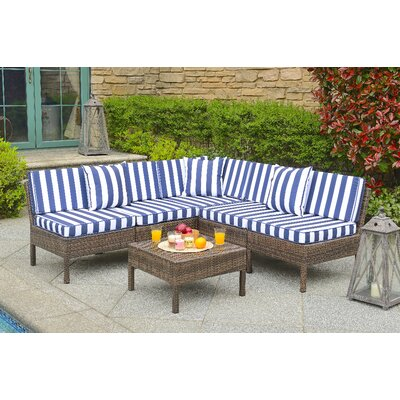 Monticello 6 Piece Sectional Seating Group with Cushion Finish: Brown, Fabric: Navy Nautical