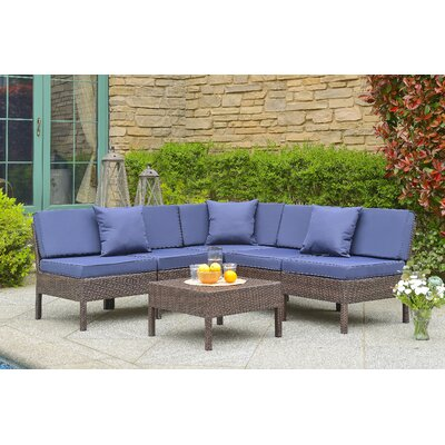 Monticello 6 Piece Sectional Seating Group with Cushion Finish: Brown, Fabric: Navy