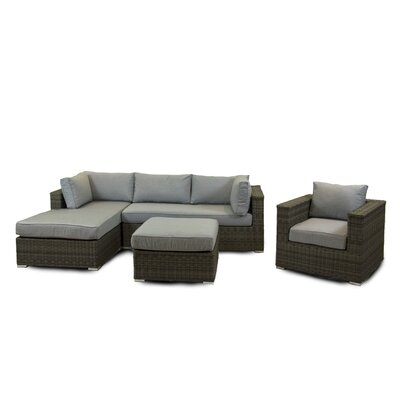 Greendale 4 Piece Deep Seating Group with Cushion Fabric: Graphite