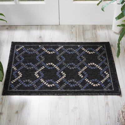Kittrell Charcoal/Blue/Gray Indoor/Outdoor Area Rug Rug Size: 19 x 29