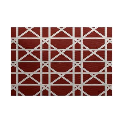 Clewiston Trellis Geometric Print Orange Indoor/Outdoor Area Rug Rug Size: 3 x 5