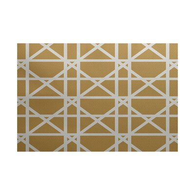 Felles Geometric Print Gold Indoor/Outdoor Area Rug Rug Size: 3 x 5