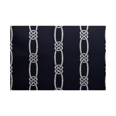 Hancock Navy Blue Indoor/Outdoor Area Rug Rug Size: 5 x 7