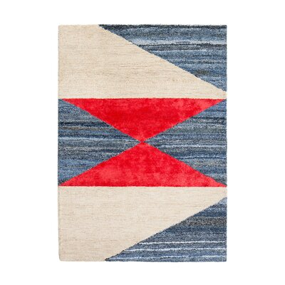 Monadnock Hand-Tufted Blue/Red/Beige Area Rug Rug Size: 5 x 8