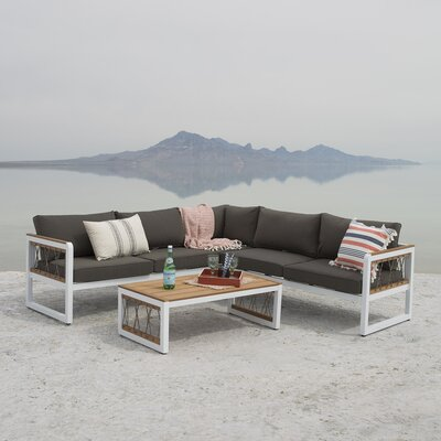 Anoop Outdoor 4 Piece Sectional Seating Group with Cushions