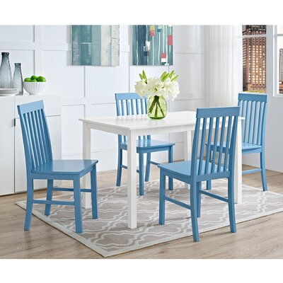 Cienna 5 Piece Dining Set Chair Color: Powder Blue