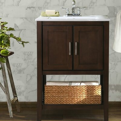 Lambeth 24 Single Bathroom Vanity Set with Basket Base Finish: Antique Coffee