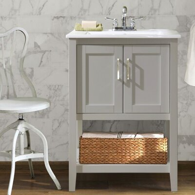 Lambeth 24 Single Bathroom Vanity Set with Basket Base Finish: Gray