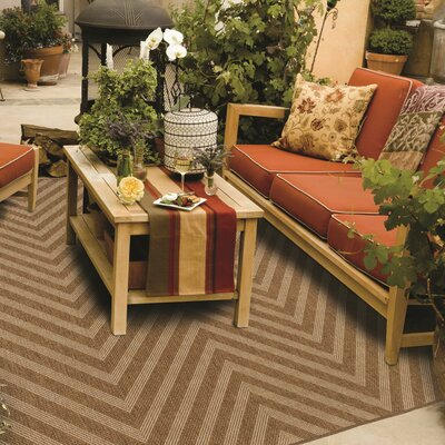 Stowe Chevron Tan Indoor/Outdoor Area Rug Rug Size: 37 x 56